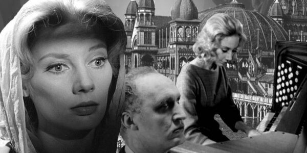A collage of a woman staring eerily ahead, a man in the center and a woman playing the organ